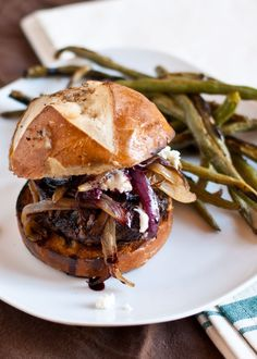 Red Wine Burgers with Caramelized Onions and Goat Cheese | Neighborfoodblog.com/Added By Judith-I Don't Like Pretzel Buns So Of Course Use Your Favorite Buns.