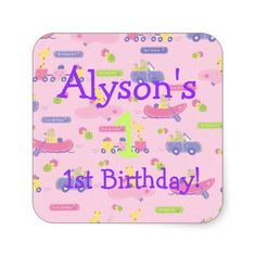 Pink Animals On The Go Birthday Square Stickers