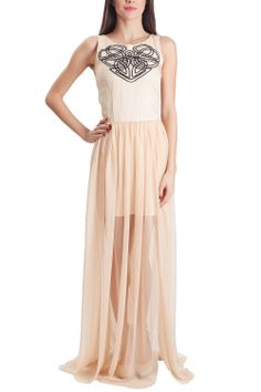 Rochie lunga nude broderie inima