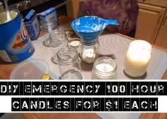 How To Make Cheap 100 Hour Emergency Candles Doomsday Prepping, Survival Prepping, Emergency Preparedness, Survival Skills, Emergency Kits, Survival Stuff, 72 Hour Kits, Emergency Preparation, In Case Of Emergency