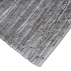 Handgeweven vloerkleed Urban 170x240 Zilver/grijs van gerecycled leer