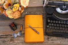 Bumble Bee Leather Quill Travelers Notebook- 7 Sizes- Wrap or No Wrap from The Leather Quill Shoppe