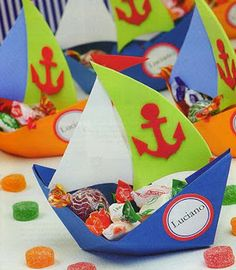 : Foami and paper boats Foam Crafts, Diy And Crafts, Crafts For Kids, Paper Crafts, Party Decoration, Birthday Decorations, Sailor Party, Nautical Party, Pirate Party