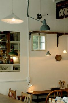 Is that a photo of a kitchen on the wall?  Love the idea.    Shiva Cafe // japan