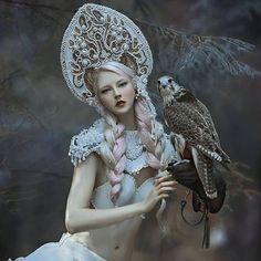 my designs by dear @agnieszka_lorek muse @mariaamanda_official❤  #agnieszkaosipa #costume #headpiece #kokoshnik #headgear #crown #shoulders #white #pearl #crystals #beads #embroidery #jewellery #ornaments #gold #fairytail #falcon #forest #bird #nymph #witch #folklore#portrait #slavic #beauty#blonde