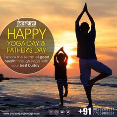 Explore the secret of good health through yoga with your best buddy (Father) Wildlife Safari, Jungle Safari, Happy Yoga Day, Jungle Resort, Park Resorts, Good Buddy, National Parks, The Secret, Father