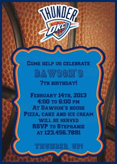 OKC Thunder Party Invitation  5x7  Printable by KWPCreations, $5.00