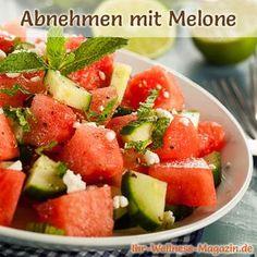 Melonen Rezepte zum Abnehmen: Salat mit Wassermelone, Gurke und Feta  kalorienarm, gesund und lecker, das perfekte Diät-Rezept für die schlanke Linie ...