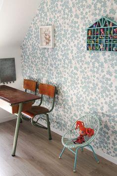 Living With Kids: Marjolaine Solaro Kids Bedroom Wallpaper, Baby Decor, Kids Decor, Little Girl Rooms, Kids Room, Kids Corner, Floral Wallpapers, Kids Furniture, Blue Furniture