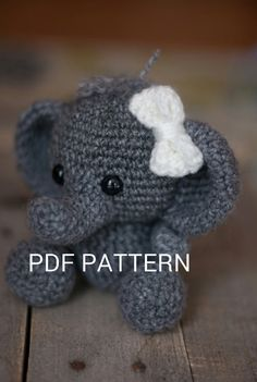 "PATTERN: Crochet elephant toy amigurumi by TheresasCrochetShop, 6"", $3"