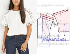 MOLDE DE BLUSA COM CROCHE -96 - Moldes Moda por Medida