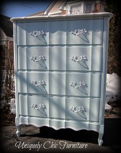 French Provincial Dresser Chest~Light Aqua and White