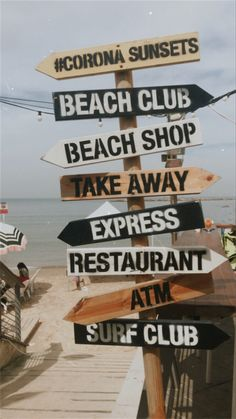 Direction arrows at the beach Vintage Beach Signs, Beach Signs Wooden, Photo Wall Collage, Picture Wall, Arrow Signage, Sunset Beach Club, Beachy Signs, Beach Cafe, Directional Signs