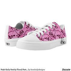 Pink Girly Swirly Floral Pattern Printed Shoes $87.60 #zipz #zazzle