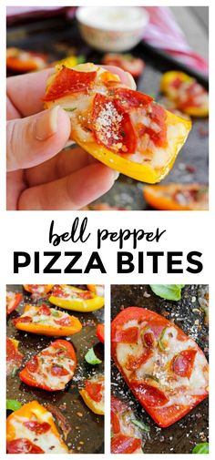 With a bell pepper crust and lean turkey pepperoni on top these Bell Pepper Pizza Bites are a delicious healthy low carb way to get your pizza fix pizza bellpeppers lowcarbrecipe # Healthy Low Carb Recipes, Low Carb Dinner Recipes, Healthy Snacks, Healthy Eating, Cooking Recipes, Healthy Pizza, Pepper Recipes, Bell Pepper Salad, Pizza