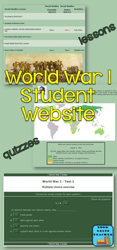 World War I Unit including fact pages, activities, and interactive quizzes