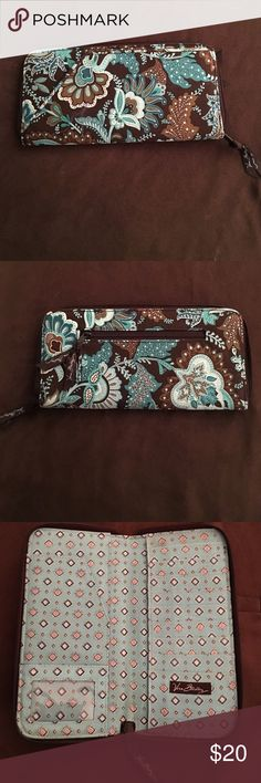 Vera Bradley Clutch Wallet Brown & Blue Vera Bradley Clutch Wallet. This oversized wallet can hold everything you would need , wallet is in great shape and was  hardly ever used.  Bundle some of the other great Clothing , Jewelry & Hair Accessories to take advantage of bundle discounts & to save big on shipping  Vera Bradley Bags Wallets