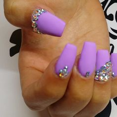 Matte lilac coffin nails with gemstones #trythisnail