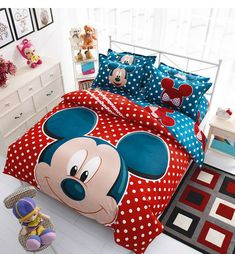 ParkShin Mickey Mouse Bedding Set Cartoon Kids Favorite Home Textiles Plain Printed Stylish Bedclothes Twin Queen Size Cute Bedding, Kids Bedding Sets, Duvet Bedding Sets, Bed Duvet Covers, Duvet Cover Sets, Miki Y Mini, Mickey Mouse Bedroom, Minnie Mouse, Casa Disney
