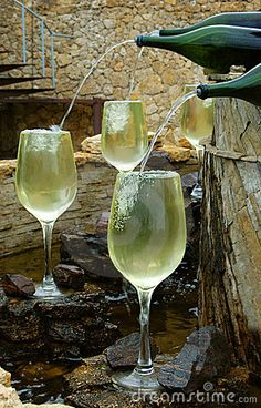 Photo about White wine fountain pouring in glasses. Image of aging basement al Photo about White win