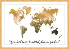 Wanderlust print, World map, World map wall art, World map poster, Inspirational quote wall art, Inspirational quotes art,Map art, Map Print  PLEASE READ FOLLOWING DESCRIPTION!  Don't you know how to decorate your new apartment? Have you got an office and you want to decorate it? This is your shop! SIZES The image is available to print in digital format directly! - 1st size: 60cmx40cm  - 2nd size: 45cm x 30 cm  - 3rd size: 30cm x 20cm - 4th size: 21cm x 14cm   - PDF  HOW TO ORDER AND…