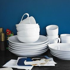Organic Shaped Dinnerware Set | west elm, mmmmm white!
