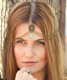 Look at this Turquoise & Bronze Stella Bohemian Head Chain on #zulily today!