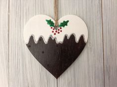 Christmas pudding large wooden heart tree decoration with glitter holly berries Clay Christmas Decorations, Wooden Christmas Crafts, Christmas Plaques, Heart Decorations, Diy Christmas Tree, Xmas Crafts, Handmade Christmas, Christmas Makes To Sell, Christmas Ideas