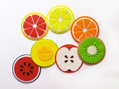 Excited to share the latest addition to my etsy shop: Bright Fruit Felt Coasters! Felt Fruit, Felt Food, Felt Coasters, Diy Coasters, Felt Crafts, Diy And Crafts, Crafts For Kids, Diy Shrink Plastic Jewelry, Sewing Crafts