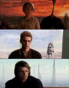 Anakin against Courscant sky