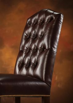 Nailhead trim outlining the seat bottom. It's understated, but works well with the tufted back on this dining chair. Leather Dining Chairs, Parsons Chairs, Wing Chair, Tufting Buttons, Nailhead Trim, Inspiration, Design, Decor, Biblical Inspiration