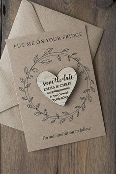 Wooden Save the Date Magnets Announce your wedding date in style with these beautiful Wood Save the Date Magnets. These wedding save the dates are personalised with your Christian names, wedding date and location. Each comes mounted on a presentation card with envelope, ready for