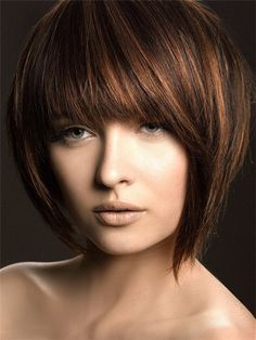bob haircut for thick hair with bangs