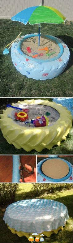 http://www.babyboyeasteroutfits.com/category/playard/ recycled tire sandbox