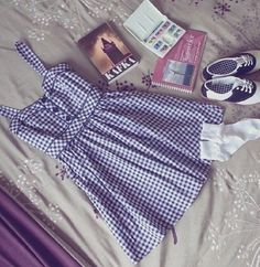 Gingham dress and saddle shoes Cute Fashion, Teen Fashion, Vintage Fashion, Fashion Outfits, Womens Fashion, Mode Outfits, Trendy Outfits, Spring Summer Fashion, Spring Outfits