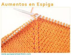 Manga ranglan,aumentos en espiga Loom Knitting Projects, Knitting Stiches, Crochet Projects, Love Crochet, Knit Crochet, Knit Patterns, Crochet Bikini, Needlework, Stitch
