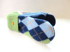 Felted Wool Mittens BLUE & GREEN ARGYLE with Orange, Blue Wool Mitts, Green Mitts by WormeWoole