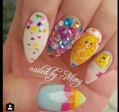 Care Bears valentine stiletto nails