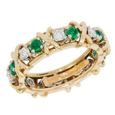 c4eacd511 Jean Schlumberger for Tiffany & Company 18K yellow Gold, Diamond and  Emerald 16 stone X Ring #diamondbandring