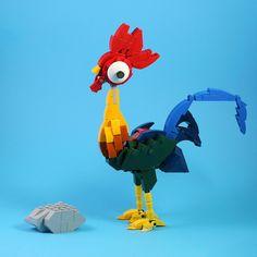 Moana's pet rooster Hei Hei struts his stuff Lego Super Mario, Geek Cave, Lego Mechs, All Lego, Lego Models, Lego Disney, Lego Duplo, Lego Building, Lego Creations