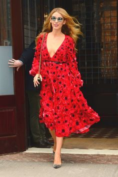 Blake Lively in a floral-appliqué poppy dress from Michael Kors's spring/summer 2016 collection