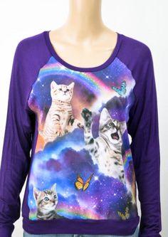 Women Junior Pastel Goth Hipster Graphic Tee Shirt Kitten Butterflies Rainbow