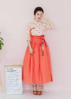 생활한복 허리치마 함초롬 햇살홍시빛 : 다래원 한복