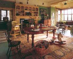 Wightwick Manor's Victorian Arts and Crafts nursery interior (National Trust) Victorian Interiors, Vintage Interiors, Victorian Homes, Arts And Crafts House, Home Crafts, Victorian Nursery, Cottage Nursery, Welcome To My House, Old Room