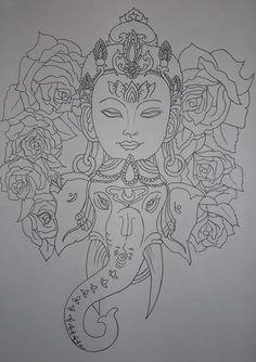 Work in progress, tattoo design outline: Taryn Healey Future Tattoos, Love Tattoos, Beautiful Tattoos, Body Art Tattoos, New Tattoos, Hand Tattoos, Tatoos, Buddhism Tattoo, Buddha Tattoos