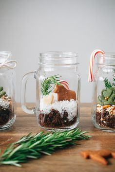 "Gingerbread Terrariums - all edible! With gingerbread ""dirt"", coconut ""snow"" and rosemary for the ""trees"". Noel Christmas, Christmas Treats, Christmas Cookies, Christmas Decorations, Holiday Decor, Christmas Baking, Christmas Favors, Christmas Ornaments, Mini Terrarium"