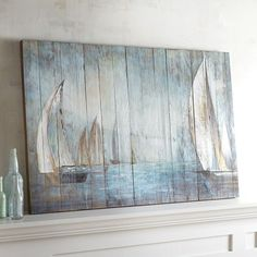 Drifting Boats Wall Decor - All For Decorations Wooden Wall Decor, Wooden Walls, Diy Wall Decor, Wooden Boards, Nautical Wall Decor, Decor Room, Pallet Painting, Pallet Art, Painting On Wood