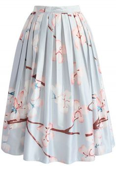 Cherry Blossom Printed Midi Skirt