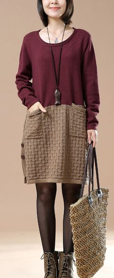 New pattern knit burgundy sweaters oversize dresses