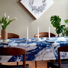 Aerial Print Cobalt Blue Tablecloth   Modern Table Linens   Unison